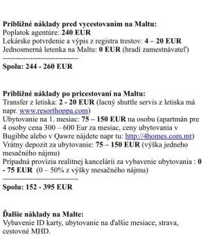 Náklady na Malte.